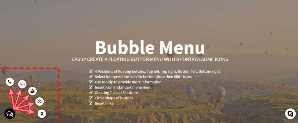 دمو افزونه buble-menu برای وردپرس